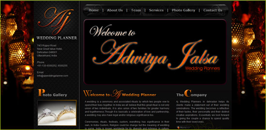 customized wedding website design with flash banner effects